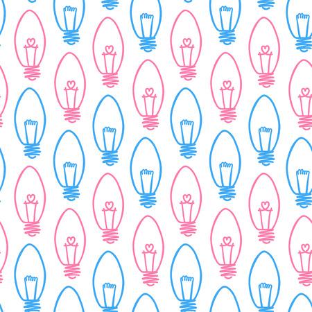 Hand drawn seamless pattern of light bulb Vector illustration.