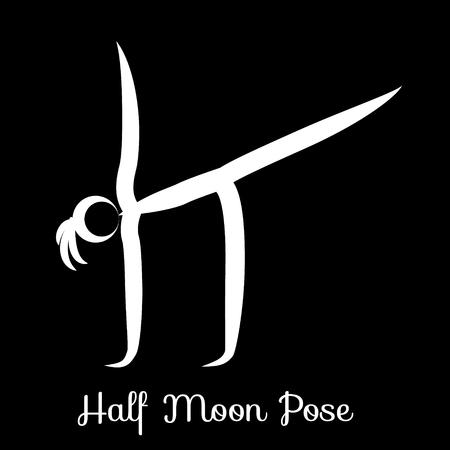 Half Moon Pose, Ardha Chandrasana. Yoga Position Vector Silhouette Illustration. Vettoriali