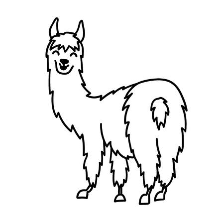Hand drawn Peru animal lama