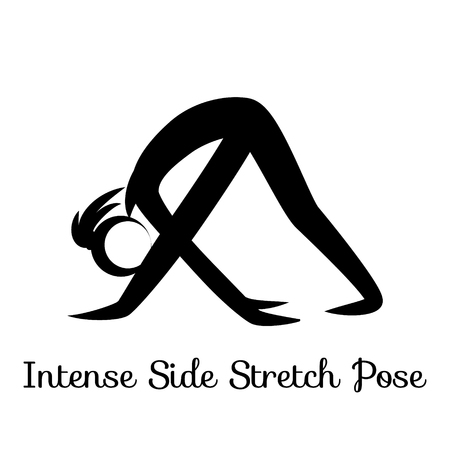 Intense Side Stretch Pose, Parsvottanasana. Yoga Position. Vector Silhouette Illustration. Vector graphic design or logo element for spa center, studio, poster. Yoga retreat. Black. Isolated Illustration