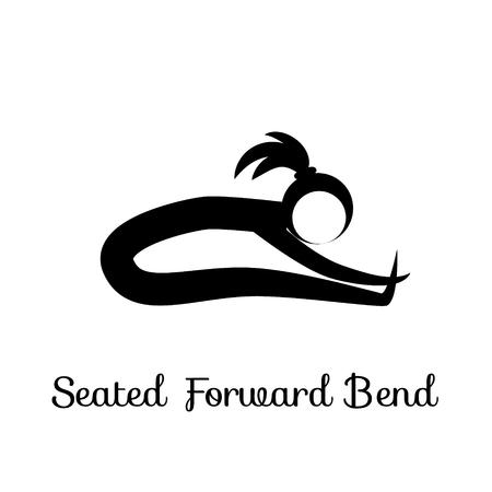Seated Forward Bend, Paschimottanasana. Yoga Position. Vector Silhouette Illustration. Vector graphic design or logo element for spa center, studio, poster. Yoga retreat. Black. Isolated Ilustração