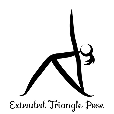 Extended Triangle Pose, Utthita Trikonasana. Yoga Position. Vector Silhouette Illustration. Vector graphic design or logo element for spa center, studio, poster. Yoga retreat. Black. Isolated 일러스트
