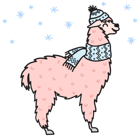 Vector illustration of cute character south lama in winter hat and scarf. Isolated outline cartoon baby llama. Hand drawn Christmas Peru animalguanaco, alpaca, vicuna. Drawing for print.