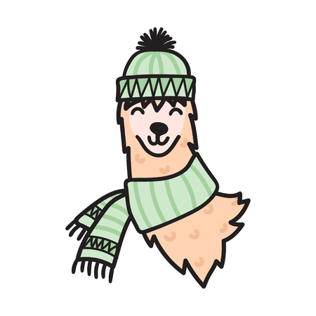 Vector illustration of cute south America lama head in winter hat. Isolated outline cartoon baby llama face. Hand drawn Peru animal guanaco, alpaca, vicuna. Drawing for print, fabric etc