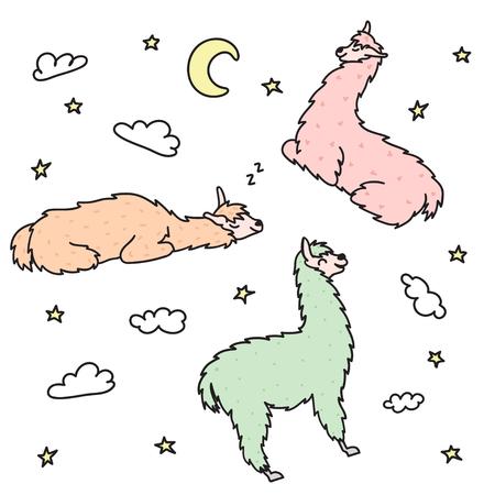 Vector illustration of cute character lying lama with moon, star, cloud. Isolated dreaming cartoon baby llama. Hand drawn Peru animal guanaco, alpaca, vicuna. Drawing of sleep and dream. Illustration
