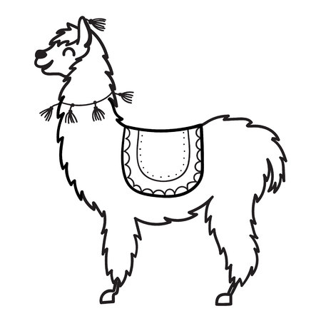 Vector illustration of cute character south America's lama with decorations. Isolated outline cartoon baby llama. Hand drawn Peru animal – guanaco, alpaca, vicuna. Drawing for print, fabric .