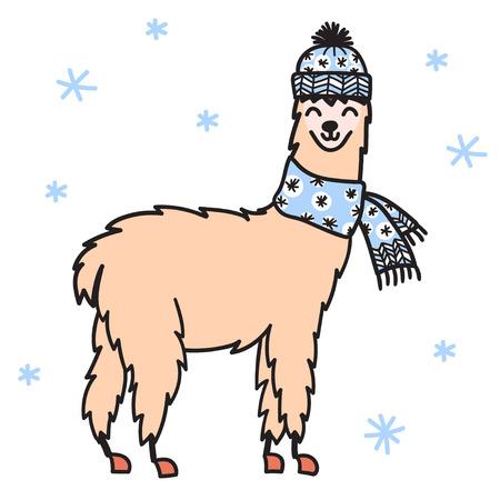 冬の帽子とスカーフでかわいいキャラクターサウスラマのベクトルイラスト。孤立したアウトライン漫画の赤ちゃんラマ。手描きのクリスマスペル