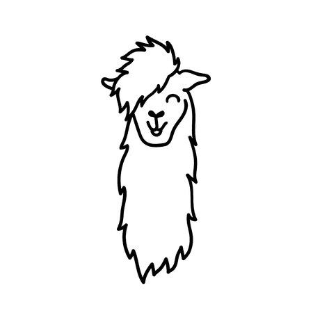 Illustration vectorielle de la tête de lama mignon Amérique du Sud. Caricature de contour isolé bébé lama visage. Guanaco animaux Pérou, alpaga, vicuna dessinés à la main. Dessin pour l'impression, le tissu, le textile, l'affiche etc.