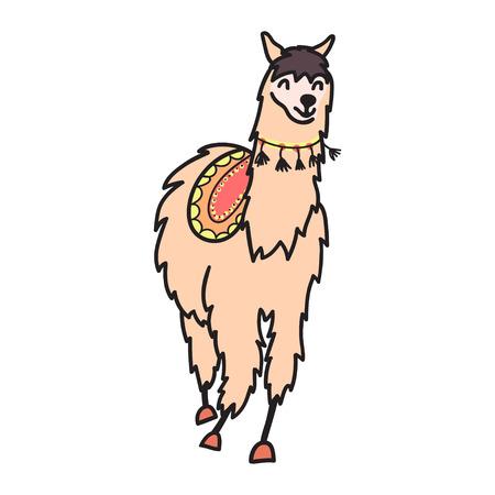 ●かわいいキャラクター南ラマのベクトルイラストをデコレーション付き。孤立したアウトライン漫画の赤ちゃんラマ。手描きペルー動物グアナコ