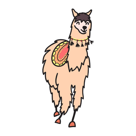 Vector illustration of cute character south lama with decorations. Isolated outline cartoon baby llama. Hand drawn Peru animal guanaco, alpaca, vicuna. Drawing for print, fabric.