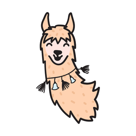 Vector illustration of cute south America lama head with decorations. Isolated outline cartoon baby llama face. Hand drawn Peru animal guanaco, alpaca, vicuna. Drawing for print, fabric etc.