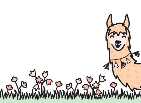 Illustration vectorielle de mignon personnage sud lama. Lama de dessin animé isolé et place pour votre texte. Guanaco, alpaga, vigogne des animaux du Pérou dessinés à la main. Dessin pour impression, tissu, textile, affiche, etc.