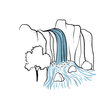 Vector illustration of waterfall. Water stream falling of mountain rock. Isolated outline hand drawn object. Logo, design element.  イラスト・ベクター素材