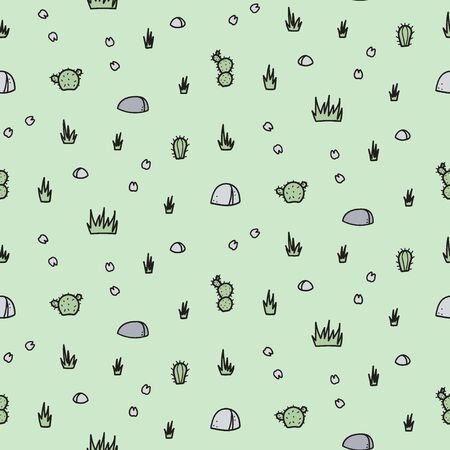 Vector seamless pattern with isolated outline cartoon rock, flowers. Hand drawn illustration of plant and stone. Drawing for print, fabric. 向量圖像