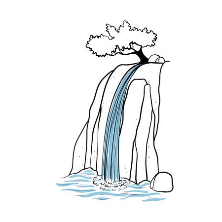 벡터 일러스트 레이 션의 폭포. 산 바위의 떨어지는 물 스트림. 격리 된 개요 손으로 그려진 된 개체입니다. 로고, 디자인 요소입니다.