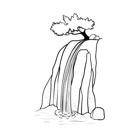 Ilustração em vetor de cachoeira. Córrego da água caindo da rocha da montanha. Objeto de mão desenhada de contorno isolado. Logo, elemento de design. Logos