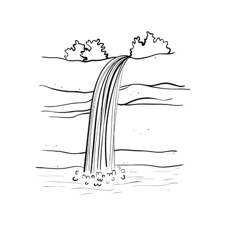Ilustración de vector de cascada. Corriente de agua cayendo de roca de montaña. Objeto dibujado mano aislado contorno. Logotipo, elemento de diseño.
