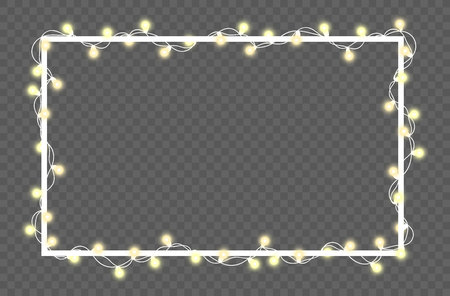 Vector illustration of light garland and frame isolated on background. Glowing light with place for text. Set of color string Christmas, New Year garlands. Realistic party decoration with transparency Vectores