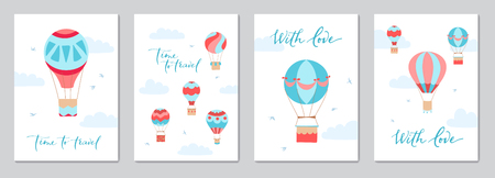 Set of cards with vector illustration of hot air balloon with banner for lettering on blue sky with birds.