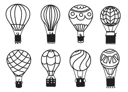 Ensemble d'illustrations vectorielles de contour montgolfière sur ciel avec nuages et oiseaux. Collection d'icônes isolées de ballon à air dessin animé. Dessinés à la main pour impression, carte, flyer, tissu, textile, affiche. Banque d'images - 96119382