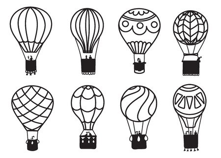 Set of vector illustrations of outline hot air balloon on sky with clouds and birds. Collection of isolated icons of cartoon air balloon. Hand drawn for print, card, flyer, fabric, textile, poster.
