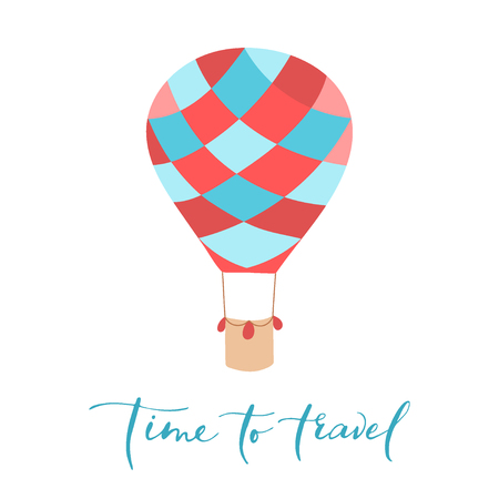 Vector illustration of hot air balloon with lettering. Isolated flat cartoon air balloon.