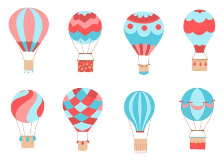 Set of vector illustration of hot air balloon. Collection of isolated flat cartoon air balloons. Hand drawn. Drawing for print, card, flyer, fabric, textile, poster.