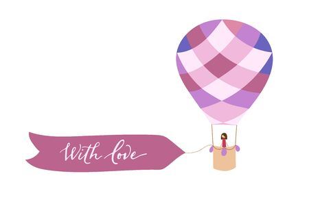 Vector illustration of bright hot air balloon with banner for lettering with birds. Isolated flat cartoon air balloon with girl passenger. Hand drawn for print, card, flyer, fabric, textile, poster.