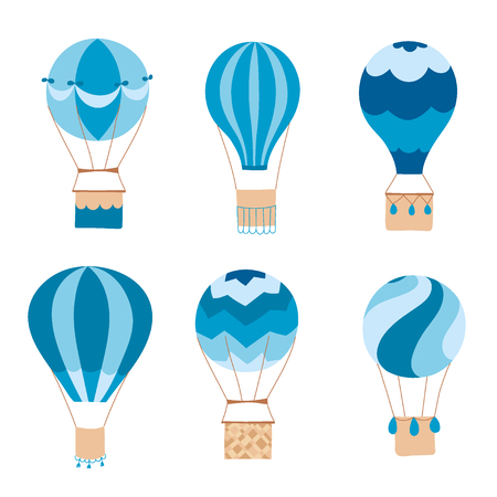 Set of vector illustration of hot air balloon. Collection of isolated flat cartoon air balloons. Hand drawn. Drawing for print, card, flyer, fabric, textile, poster. Reklamní fotografie - 96122010