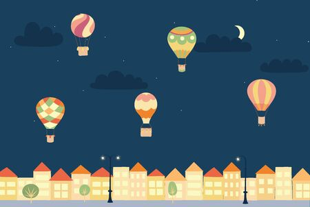 Vector illustration of landscape with hot air balloons in night sky in town. Isolated flat cartoon air balloons, houses, trees, street. Hand drawn for print, card, flyer, fabric, poster.