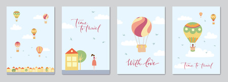 Set of cards with vector illustration of landscape with hot air balloons in blue sky in town. Isolated flat cartoon air balloons, houses, trees, street. Hand drawn for print, card, flyer, poster.