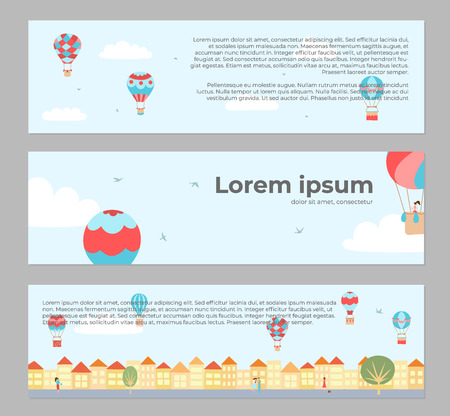 Vector illustration of landscape with hot air balloons in blue sky in town. Banners with isolated flat cartoon air balloons, houses, trees, street. For print, card, flyer, fabric, poster.