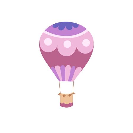Vector illustration of hot air balloon. Isolated flat cartoon air balloon. Hand drawn.