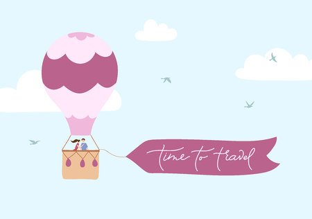 Vector illustration of hot air balloon with banner for lettering on blue sky with clouds and birds. Isolated flat cartoon air balloon with people. For print, card, flyer, fabric, textile, poster.