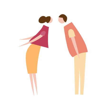 Vector illustration of couple in love. Silhouette of romantic people characters. Cartoon flat vector design for logo, print, card, flyer, fabric, poster. Vettoriali