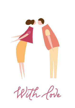A Vector illustration of couple in love. Silhouette of romantic people characters. Illustration