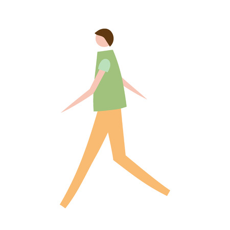 Vector illustration of walking man. Silhouette of guy characters. Cartoon flat vector design for logo, print, card, flyer, fabric, poster. Illustration