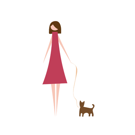 Vector illustration of modern woman with pet dog. Silhouette of fashion girl character dressed in stylish clothing. Cartoon flat vector design for logo, print, card, flyer, fabric, poster.