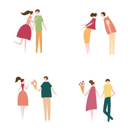 Vector illustration of couple in love. Silhouette of romantic people characters. Cartoon flat vector design for logo, print, card, flyer, fabric, poster. Illustration