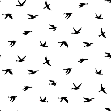 Vector illustration of silhouette of birds. Seamless pattern with black isolated flat contours of flying birds. Design element for logo, print, card, flyer, fabric, poster.  イラスト・ベクター素材