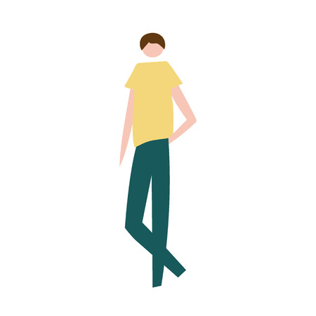 Vector illustration of standing man. Silhouette of guy characters. Cartoon flat vector design for logo, print, card, flyer, fabric, poster.
