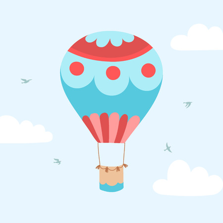 A Vector illustration of hot air balloon on blue sky with clouds and birds. Иллюстрация