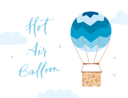 A Vector illustration of hot air balloon in the sky. Isolated flat cartoon air balloon with girl,clouds, birds.