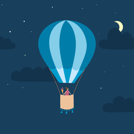 A Vector illustration of hot air balloon with passenger in night sky with clouds, stars, moon.