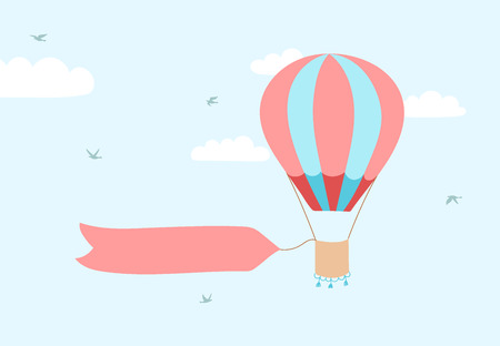 Vector illustration of hot air balloon with banner for lettering on blue sky with clouds and birds. Stock Illustratie