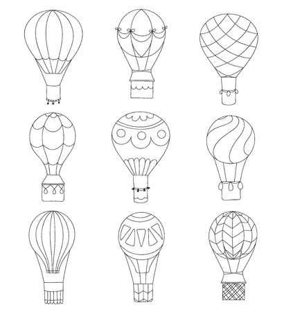 Set of vector illustrations of outline hot air balloon on sky with clouds and birds. Collection of isolated icons of cartoon air balloon. Hand drawn for print, card, fabric, textile and poster. Vettoriali