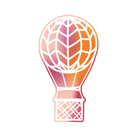 Vector illustration of hot air balloon in futuristic style with gradient. Isolated cartoon air balloon. Drawing for logo, print, card, fabric, textile and poster. Illustration