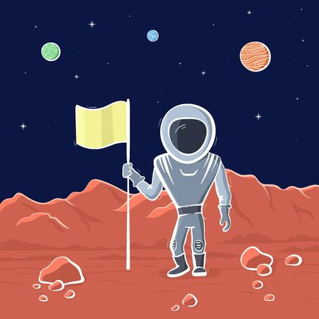 Vector illustration of astronaut with flag on red planet. Planet exploration and achievement concept flyer, card with text place. Doodle cartoon outline space symbols.