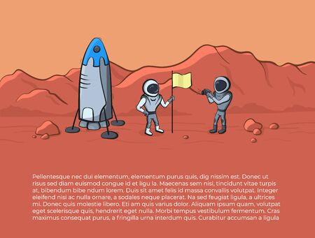 Vector illustration of space ship and astronaut on red planet. Planet exploration concept flyer, card with text place. Doodle cartoon outline space symbols. Illustration