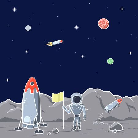 Vector illustration of space ship and astronaut on red planet. Planet exploration concept flyer, card. Doodle cartoon outline space symbols. Illustration